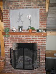 brick on fireplace
