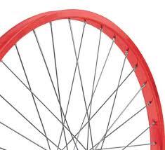 red bicycle wheels