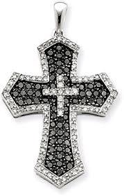 black diamond cross pendants