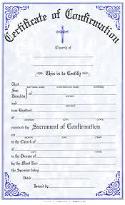 catholic confirmation certificates