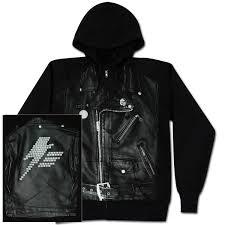 leather jacket with hoody