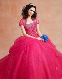 bright pink wedding dress