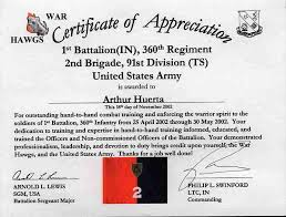 army certificate