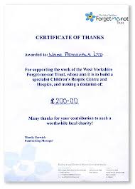 certificate thanks