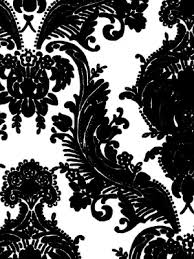 black and white damask wall paper