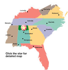 map of the southeastern us