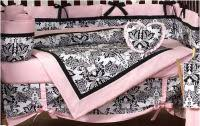 pink damask baby bedding