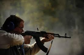 machine gun shoots