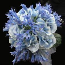 blue silk flower