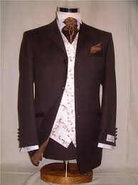 brown suit wedding
