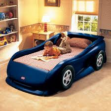 blue race car bed