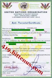 anti terrorist certificate