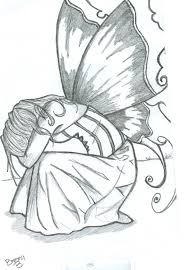 black and white drawings of fairies