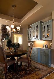 brown and blue kitchen