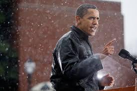 obama rain photo