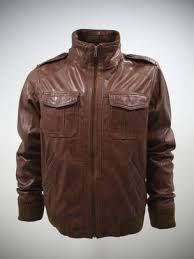 military style leather jacket