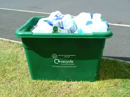 green recycling boxes