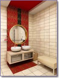 red bathroom tile