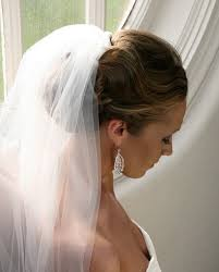 bridal updo with veil