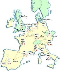 european maps with cities