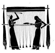 Illustration de métier à tisser vertical à une barre