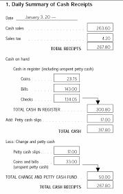 cash receipts sample