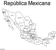 mapa de la republica mexicana con division politica y nombres