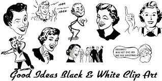 black and white clip art people