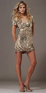 gold short dresses