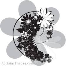 black and white clip art flowers