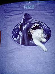 shark eating cat t shirt