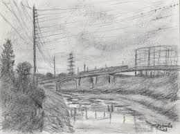 charcoal landscape drawings