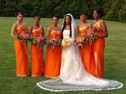 orange bridesmaid gowns