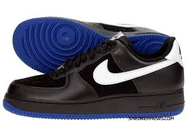 black and blue air force ones