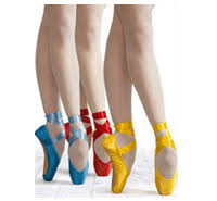 colourful pointe shoes