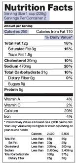 nutrition facts for cereal