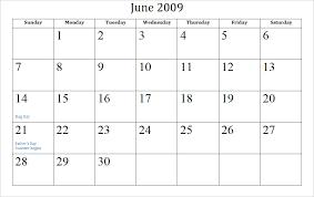 blank june calendar 2009