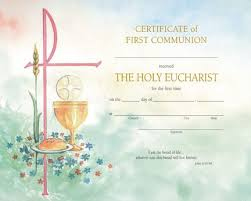 first communion certificate