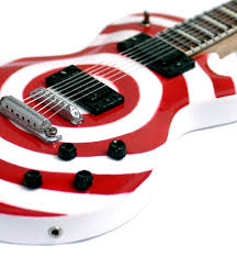red and white guitar