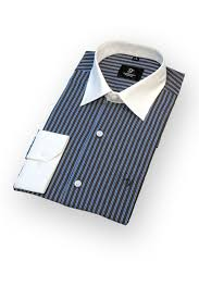 blue dress shirt with white collar