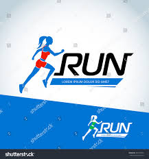 run club logo template sport logotype stock vector 487239502