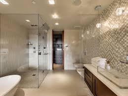 contemporary master bathroom with frameless showerdoor u0026 flush