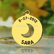 Baby Name Necklace Gold Personalized Children Name Necklace Gold Color Initial Disc Charm