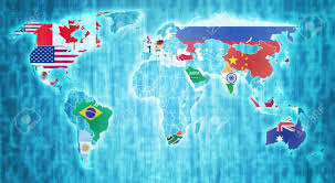 World Map With Flags New Zealand Flag On Map Word New Zealand With New Zealand Flag On