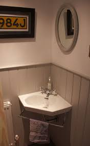 corner bathroom sink ideas the stairs wc with grey tongue and groove and adorable
