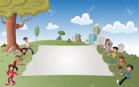 Big White Boards Cartoon Children In Green Park With A Big White Board Royalty Free