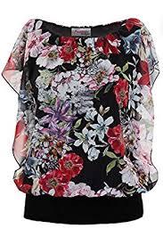elastic waist blouse batwing sleeve floral chiffon overlay gathered elastic