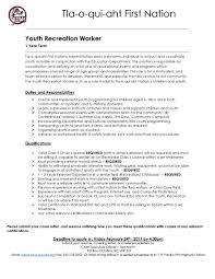 Youth Care Worker Cover Letter Recreation Worker Cover Letter Copyright Clerk Sample Resume