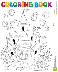 coloring book underwater castle 1 stock vector image 90992510
