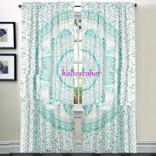 Boho Window Curtains Boho Window Curtains Peacock Mandala Window Curtain Panel Set Boho
